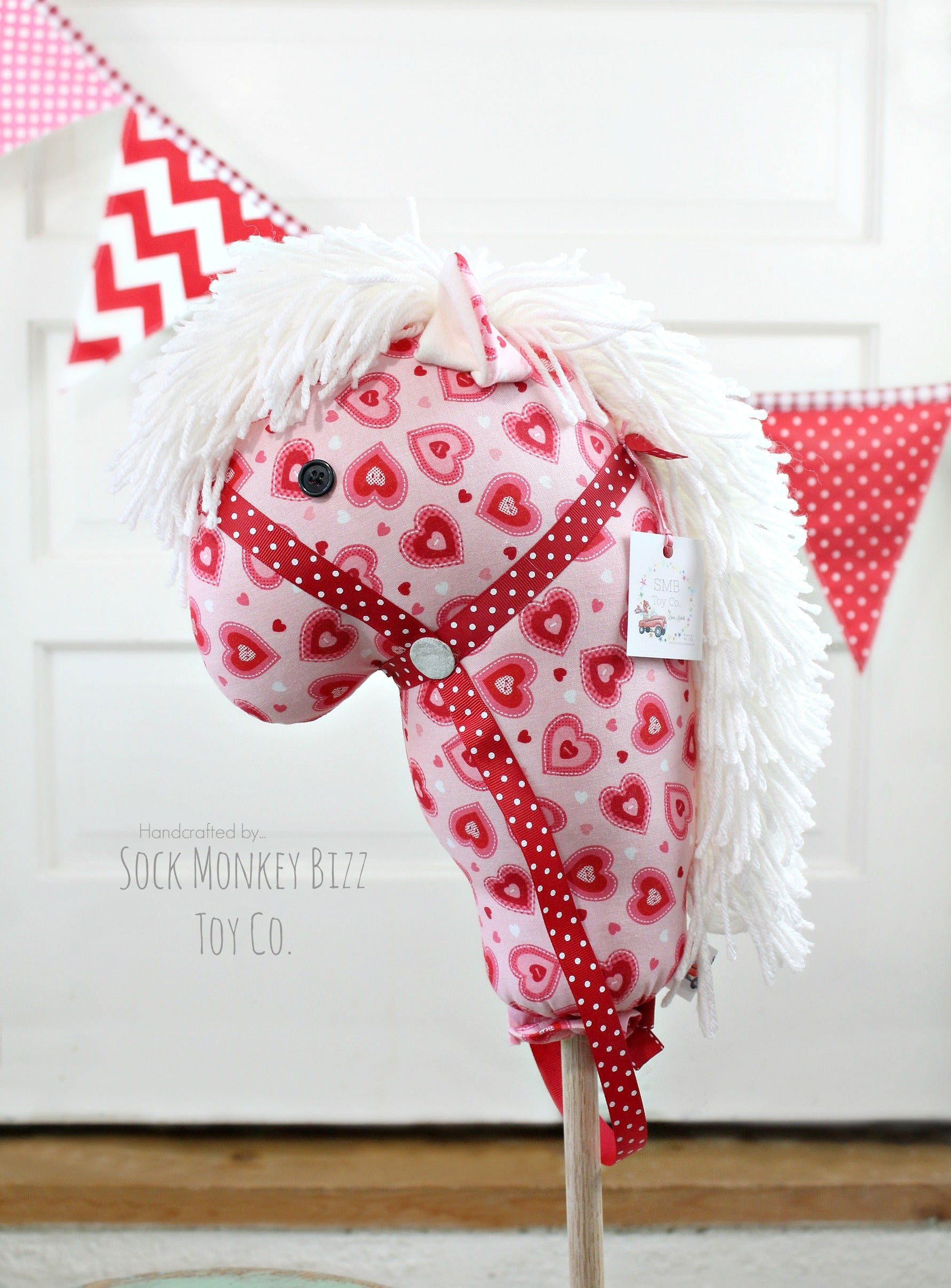 "Handcrafted Child's Valentine Toy Stick Horse - Valentine's Day Hearts 36"" Hobby Horse"