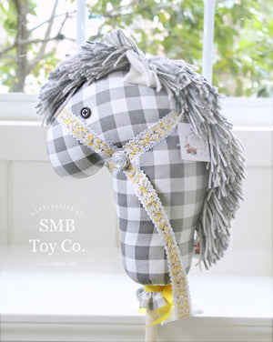 "Child's Ride-On Toy Stick Horse, Grey & White Buffalo Check - Yellow 36"" Hobby Horse"