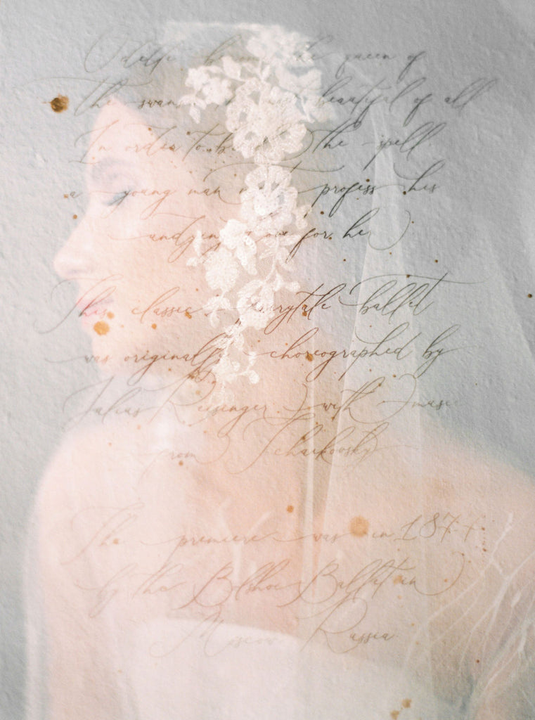 Lace wedding veil and calligraphy