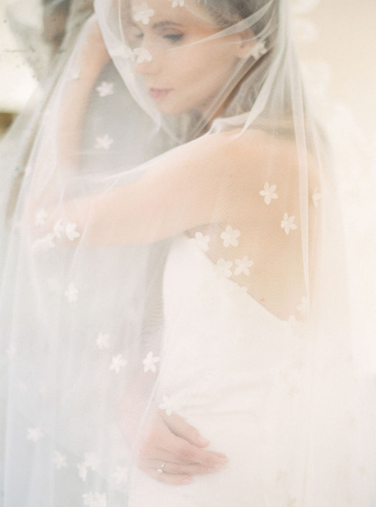 Silk flowers wedding veil by Madame Tulle bridal