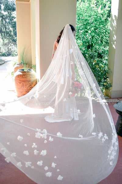 Floral wedding veil by Madame Tulle bridal, Australia