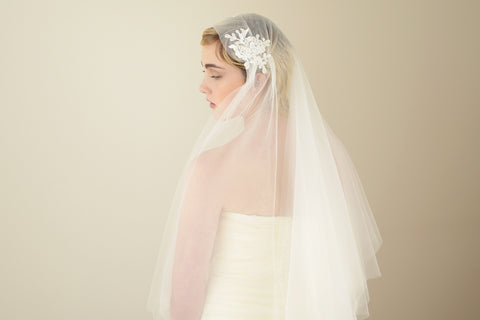 Juliet cap veil one tier with blusher Madame Tulle wedding
