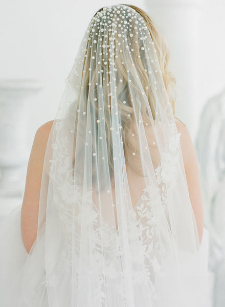 Pearl wedding veil by Madame Tulle Bridal