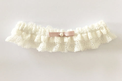pink ivory lace garter Madame Tulle