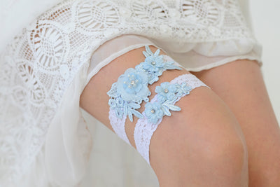APRIL | White and Blue Wedding Garter Set