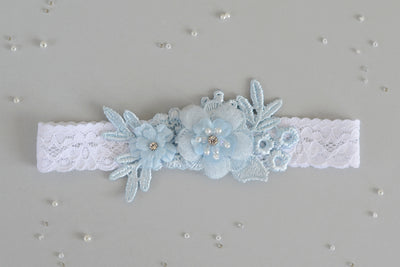 APRIL | White and Blue Wedding Garter
