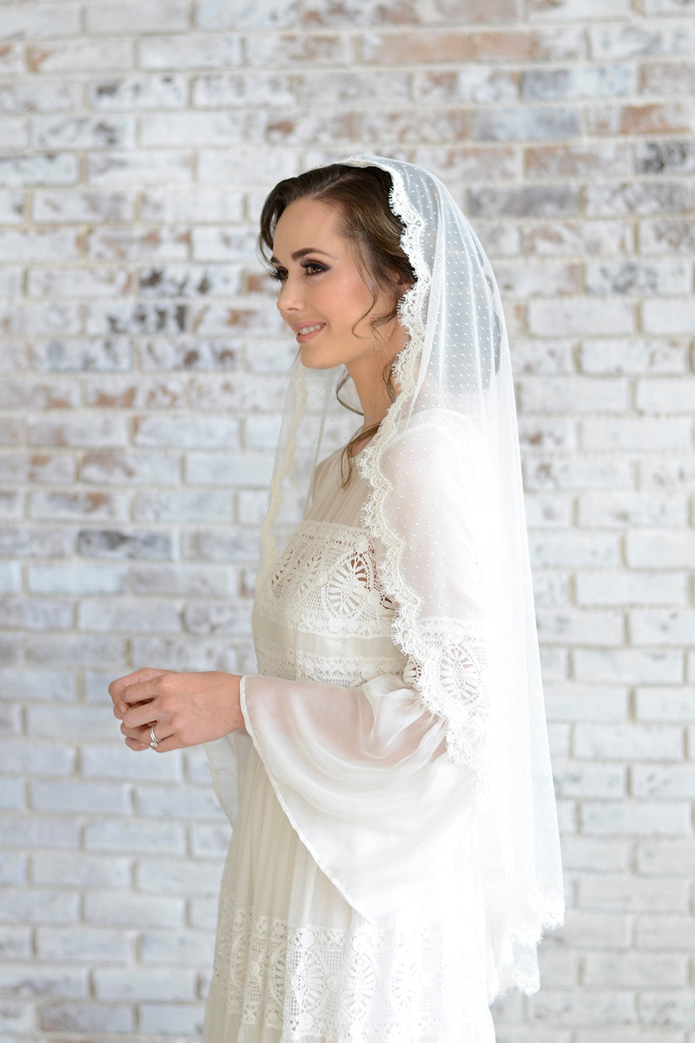 Lace Mantilla Wedding Veil with Polka dot tulle; Long dotted veil ...