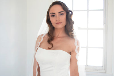 CHASTITY | One Tier Veil with Lace Trim