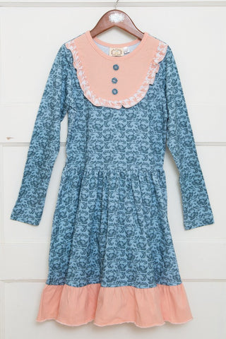 Aubrie's Yoke Dress-Antique Blue Floral