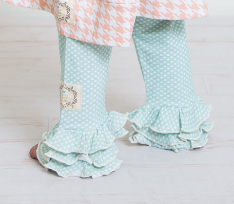 Infant Triple Ruffle Leggings-Aqua Foam Dot