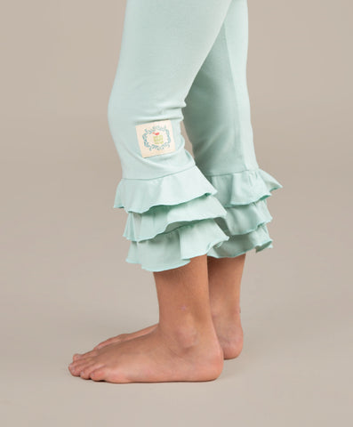 Triple Ruffle Leggings-Aqua Haze