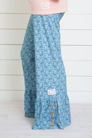 Swanky Lady Yoga Waistband Ruffle Pants-Antique Blue Floral