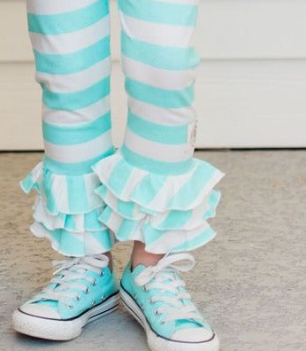 Triple Ruffle Leggings-Aruba Stripe