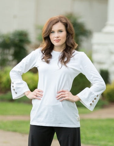 Swanky Lady Ruffle Shirt-Powder White