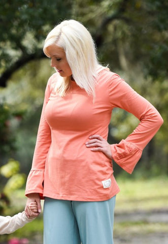 Swanky Lady Ruffle Shirt-Orange