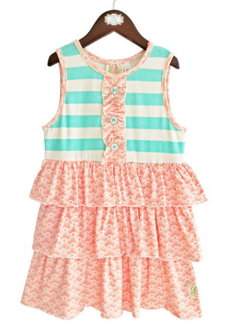 Bella's Baby Doll Top-Aruba Stripe