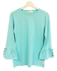 Adult Ruffle Sleeve Top-Solid Aruba Blue