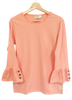 Adult Ruffle Sleeve Top-Solid Peach Pearl