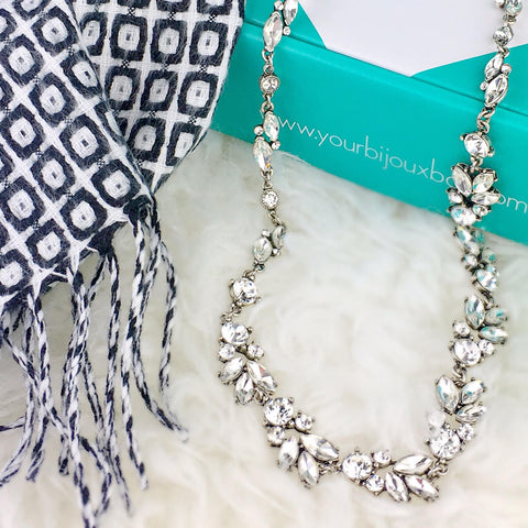 your bijoux box jewelry subscription box David & Young Scarf juliette collar
