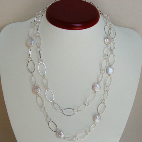 Baroque Pearl Station Necklace