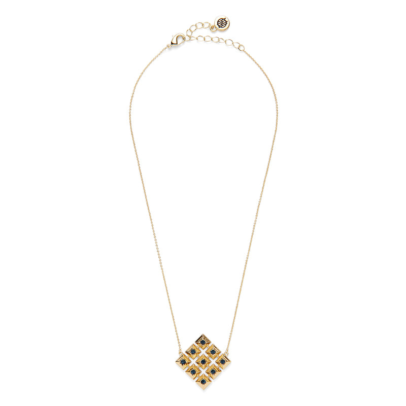 Lyra Pendant Necklace in Gold and Blue by House of Harlow 1960