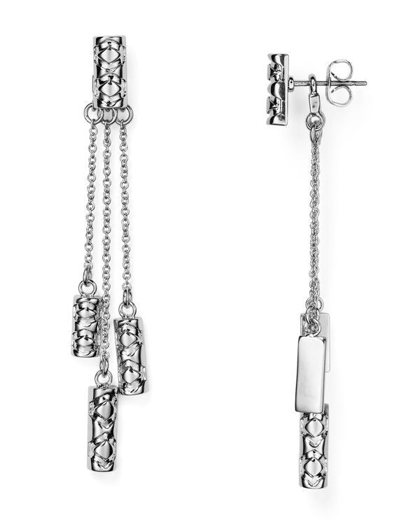 Iconic Etch Drop Silver Earrings by House of Harlow