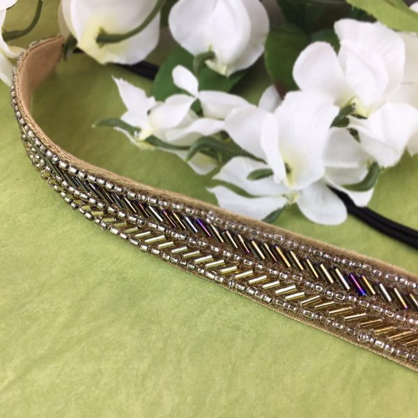 Deepa Gurnani Brown Beaded Headband