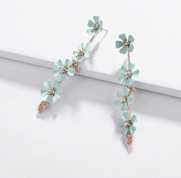 Mint Daisy Drop Earrings
