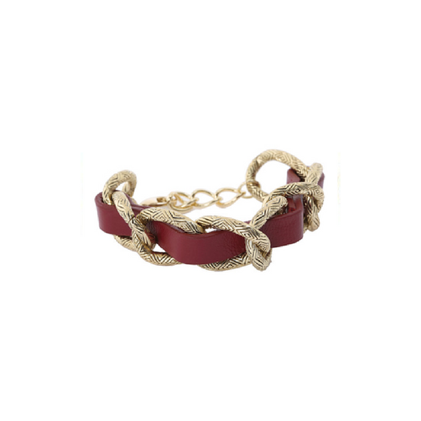 House of Harlow Gold tone Leather engraved link bracelet