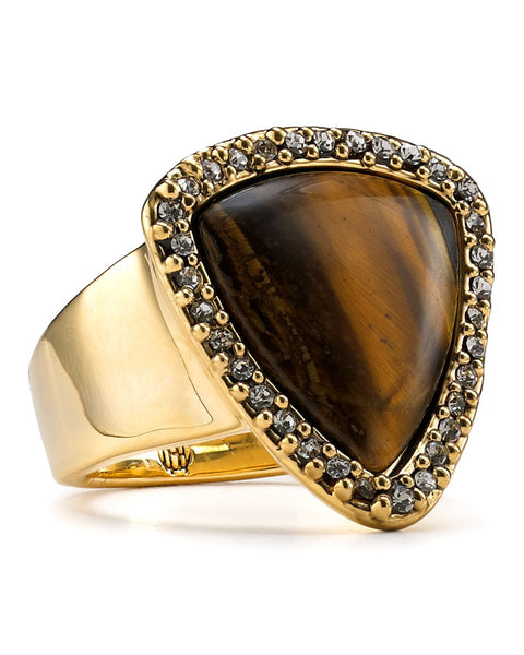 Gold Tiger's Eye Band Ring Size 7 by House of Harlow