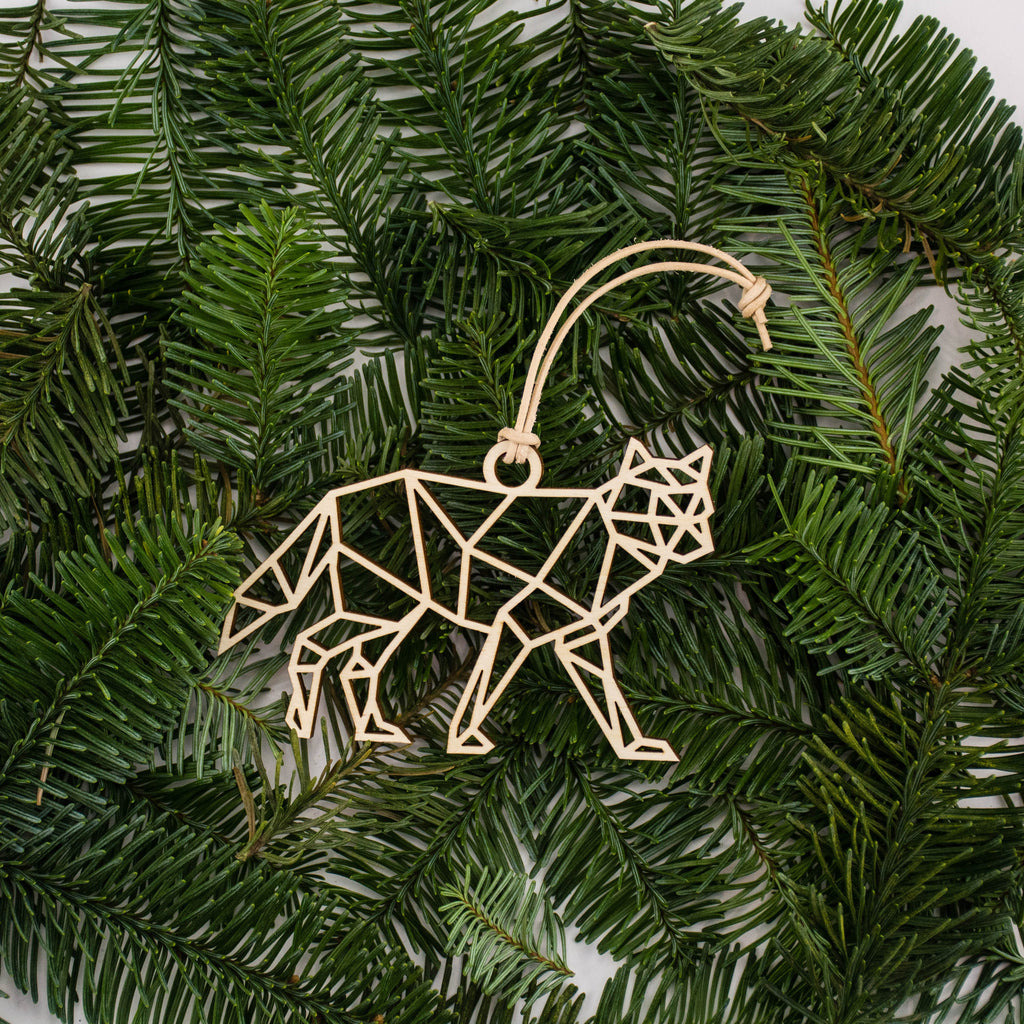 Geometric Wolf Ornament