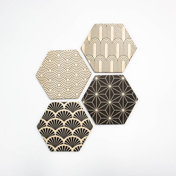 Art Deco Hex Coaster Set