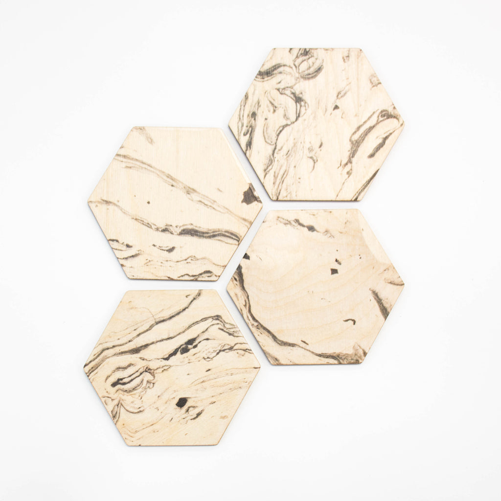 Marble Hex Coaster Set