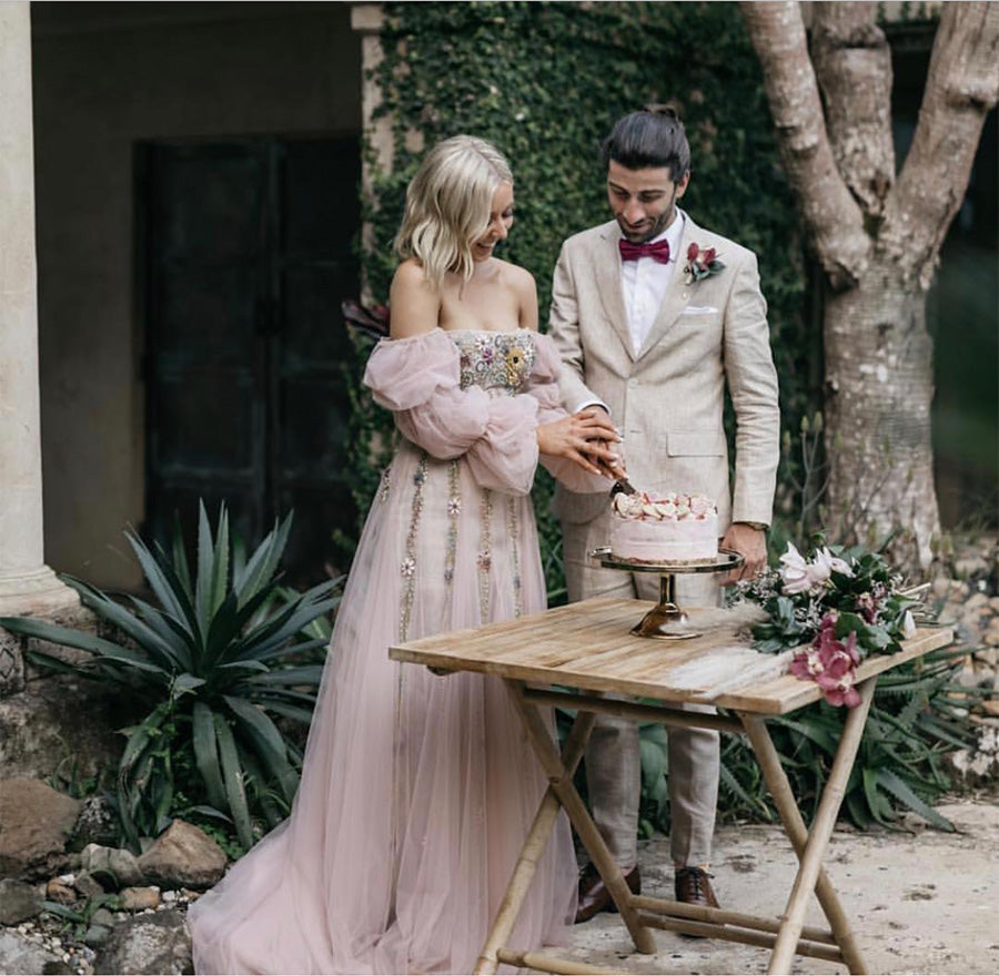 Pink Rachel Gilbert wedding dress