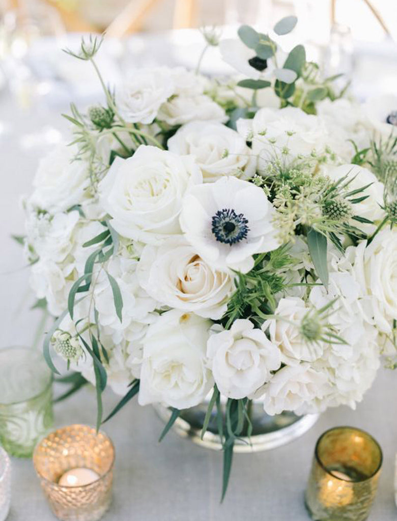 white wedding florals for tabletops