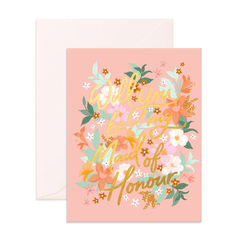'Will you be my maid of honour' Bohemian Card
