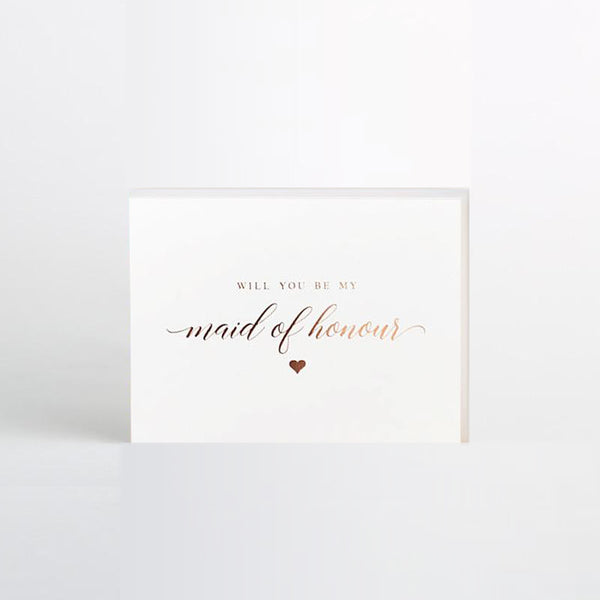 'Will you be my...?'  Bridesmaid, Maid of Honour Rose Gold Heart Foil Card