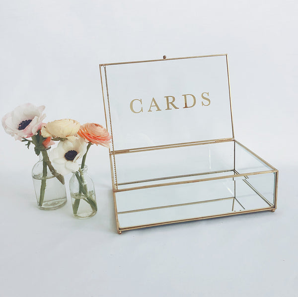 SECONDS • FEW LEFT • Gold & Glass Wishing Well with Cards Sign