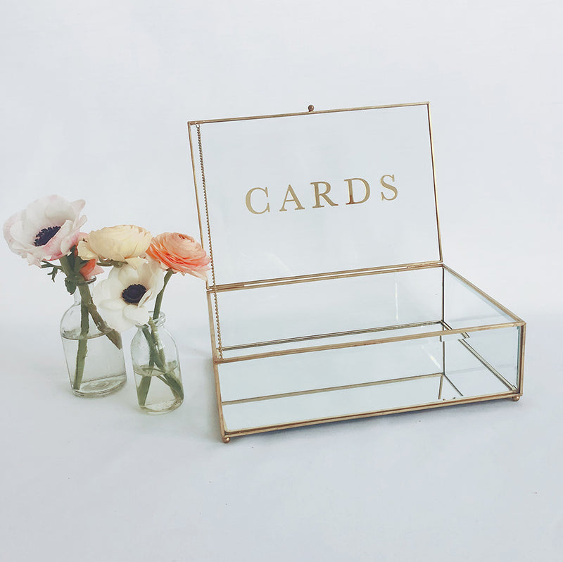 Gold & Glass Wishing Well with Cards Sign (2 styles)