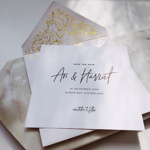 Gold floral Save the date