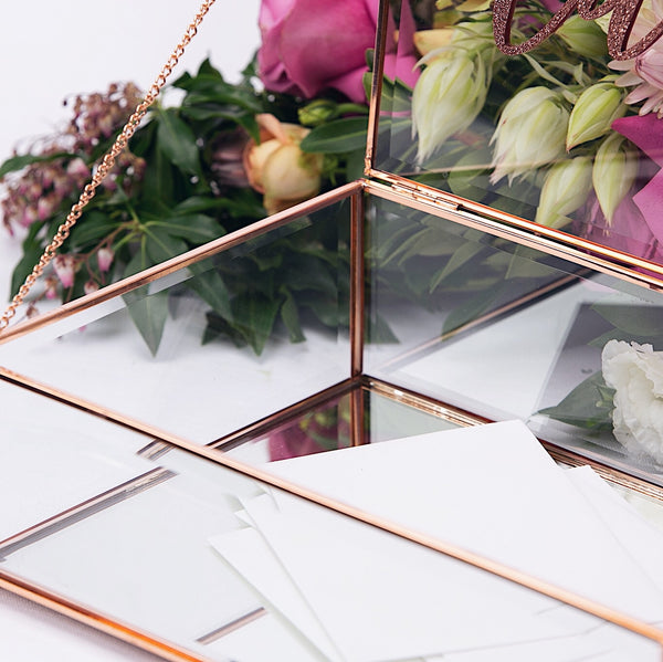 Rose Gold & Glass Wishing Well with Cards Sign