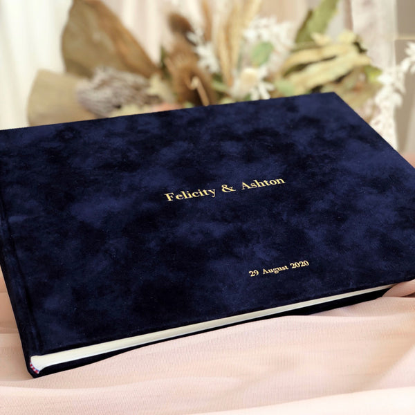 Personalised Navy Suede Guest Book