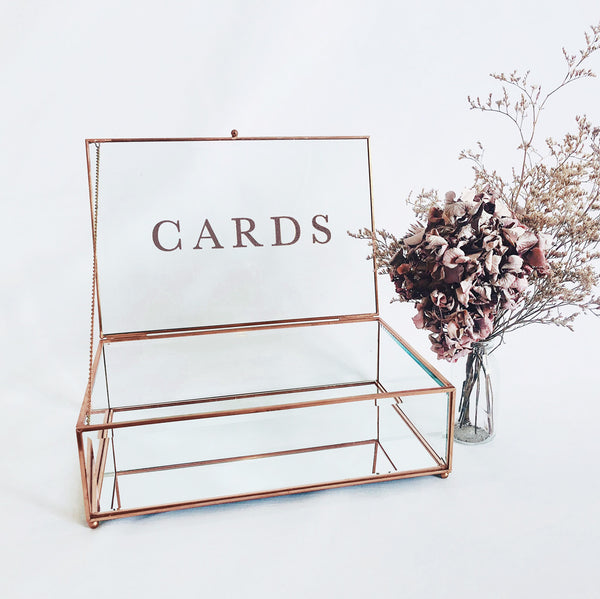 Rose Gold & Glass Wishing Well with Cards Sign (2 styles)