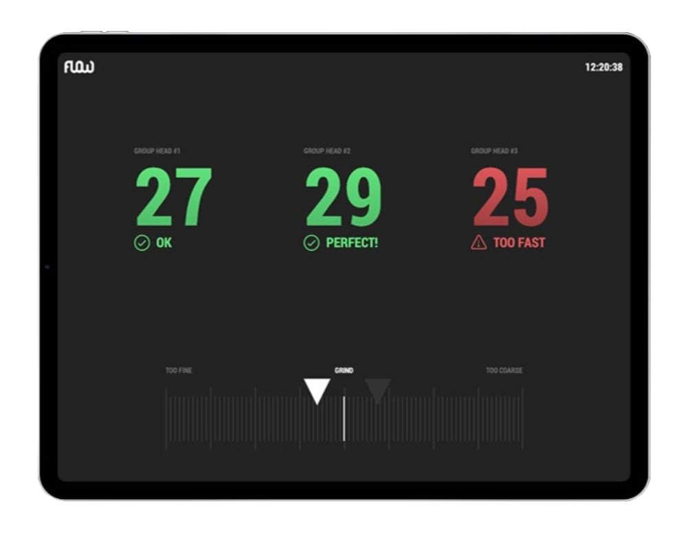 Flow Coffee Real Time Guages on tablet
