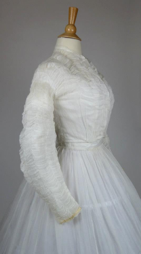 White Cotton Organza Wedding Gown from the Mid 19th Century