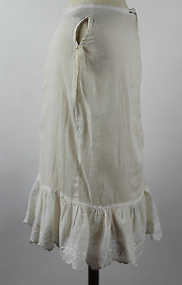 Antique White Cotton Child's Dress with Lace Trim and Butterfly Embroidery