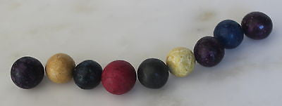 Civil War Relic Antique Vintage 9 Toy Clay Marbles Lovely Colors 19th Century
