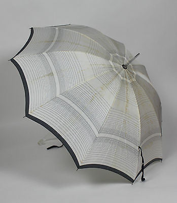 Authentic Vintage Black and White Umbrella with Clear Handle