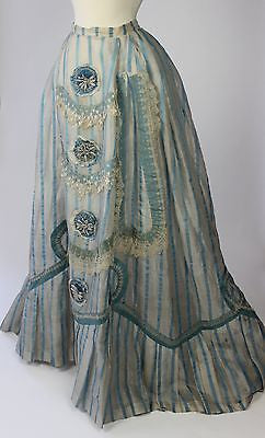 19th Century Skirt Blue and White Striped Silk Gauze with Cockades Beadwork Lace