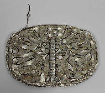 Vintage Handmade Beaded Gold and Cream Evening Bag Silk Lined Purse Belt Loop